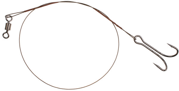 Mikado Stahlvorfach m. Wirbel u. Drillingen 25cm/10Kg - Braun - 2 Stck.