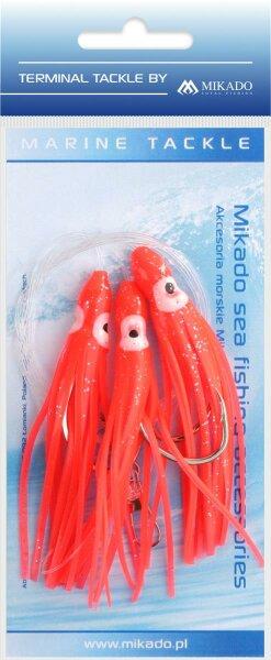 Mikado Meeres-Set - Octopus Rig 8cm - Haken 3X6/0 - Rot - 1 Satz