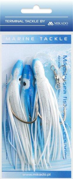 Mikado Meeres-Set - Octopus Rig 10cm - Haken 3X7/0 - Blau und Weiss