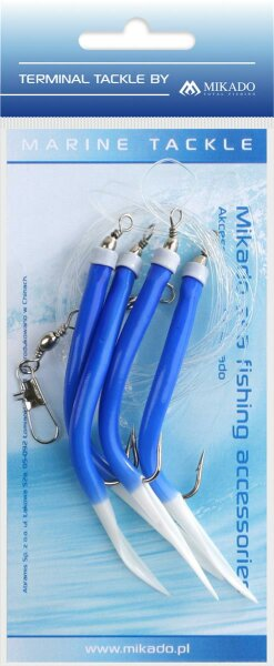 Mikado Meeres-Set - Gummi Makk Rig - Hakengröße 4X2/0 - Blau - 1 Satz