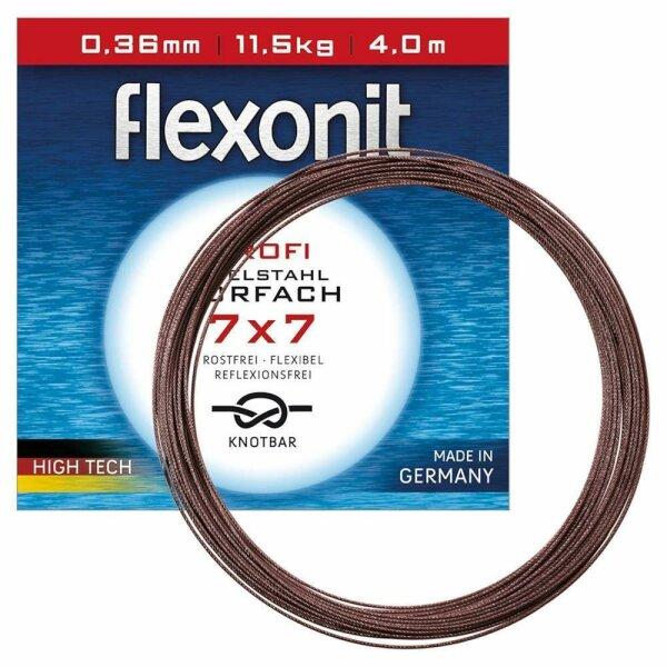 4 m flexonit Stahlvorfach 7x7 - 20,0 kg (0,45 mm)